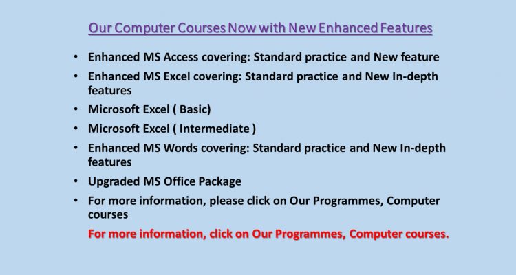 Our Computer Courses Now with New Enhanced Features PIC